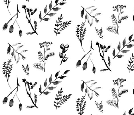 Black and White Leaves fabric by hudsondesigncompany on Spoonflower - custom fabric