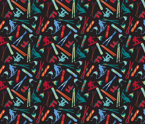 Skiing Snowboarding Black Small fabric by phyllisdobbs on Spoonflower - custom fabric