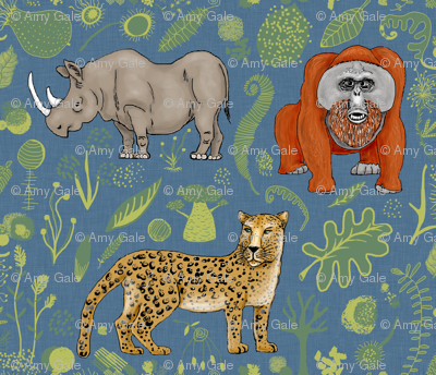 endangered animals, black rhino, amur leopard, bornean orangutan, large scale