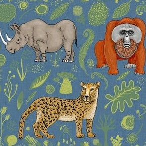 endangered animals, black rhino, amur leopard, bornean orangutan, large scale, teal blue green