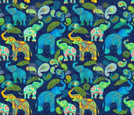 Paisley Asian Elephant Celebration fabric by honoluludesign on Spoonflower - custom fabric