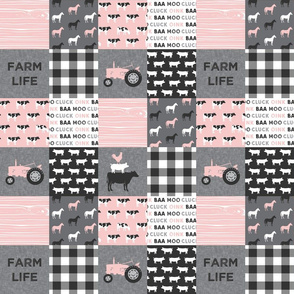 "(3"" small scale) farm life - farm patchwork fabric - p and grey linen"