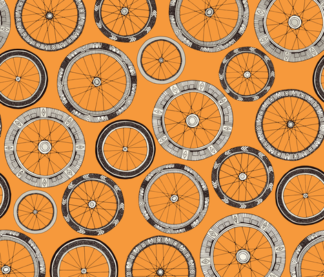 bike wheels amber fabric by scrummy on Spoonflower - custom fabric