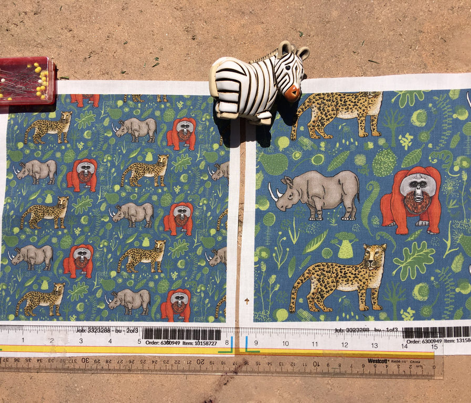 endangered animals, black rhino, amur leopard, bornean orangutan, small scale, teal blue green