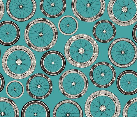 bike wheels turquoise fabric by scrummy on Spoonflower - custom fabric