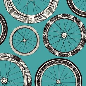 bike wheels turquoise