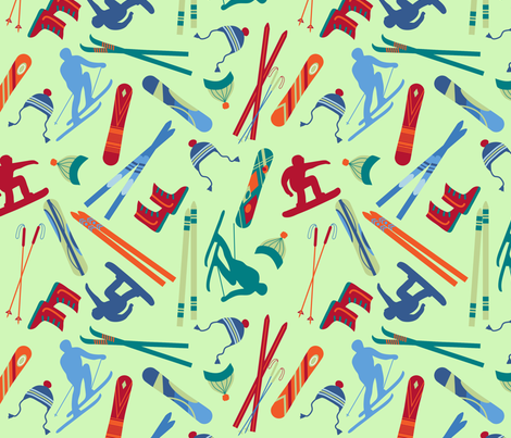 Skiers Snowboarders Green Large fabric by phyllisdobbs on Spoonflower - custom fabric