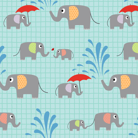 An Elephant's Day Out fabric by vintage_style on Spoonflower - custom fabric
