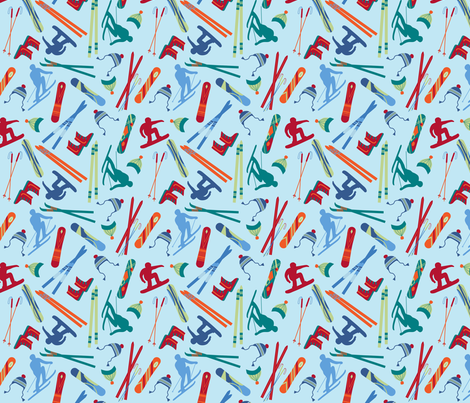 Skiers Snowboarders  Lt Blue Small fabric by phyllisdobbs on Spoonflower - custom fabric