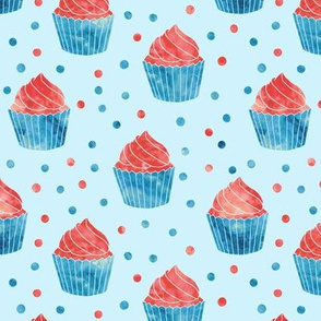 red white and blue cupcakes on blue