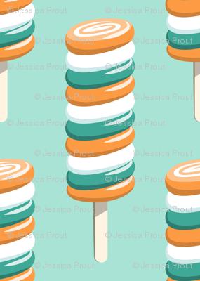 swirly popsicles (orange and teal) on aqua