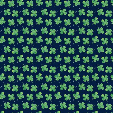 "1/2"" shamrock toss || watercolor on navy fabric by littlearrowdesign on Spoonflower - custom fabric"