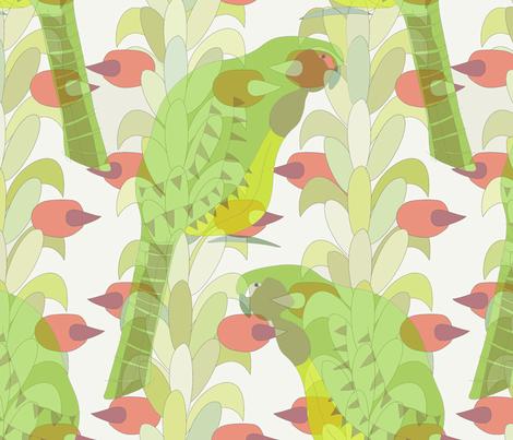 Kakapo with Rimu  fabric by pookeek on Spoonflower - custom fabric