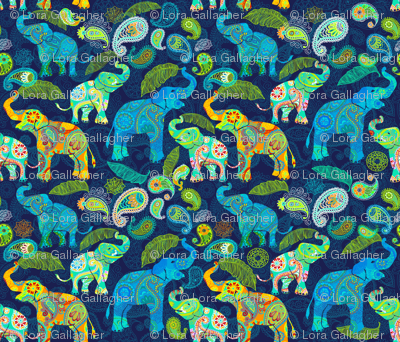 Asian Elephant Paisley Raindrops