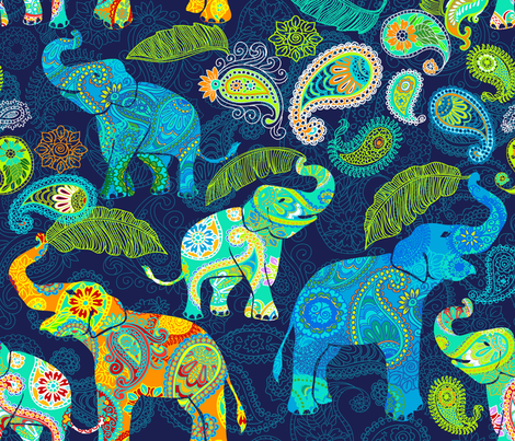 Asian Elephant Paisley Raindrops fabric by honoluludesign on Spoonflower - custom fabric