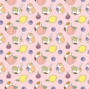 Guinea pigs and fruits pattern, pink