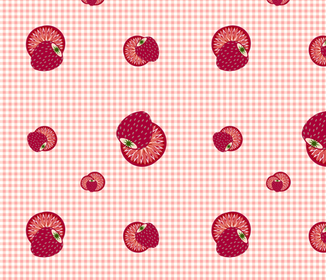 Strawberry Gingham 2 fabric by kae50 on Spoonflower - custom fabric