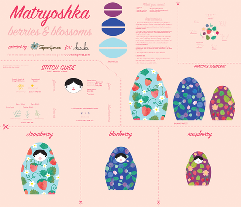 Matryoshka_Berries_Blossoms_rgb_150dpi fabric by kirikipress on Spoonflower - custom fabric