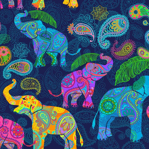 Asian Elephants Bright Paisley