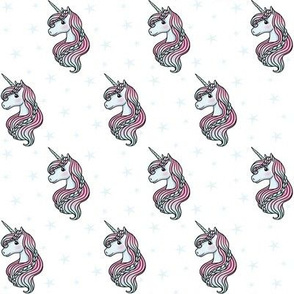 unicorn- white & baby blue - SMALL