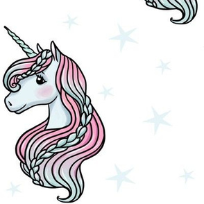 unicorn- white & baby blue - LARGE