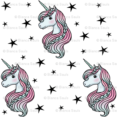 unicorn- white & black - TINY