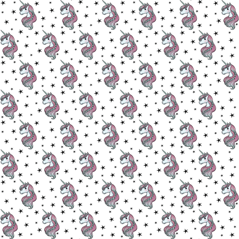 unicorn- white & black - TINY fabric by m&e_fashions on Spoonflower - custom fabric