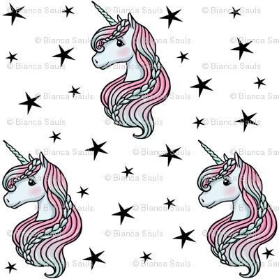 unicorn- white & black stars - MEDIUM
