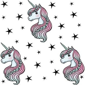 unicorn- white & black stars - MEDIUM