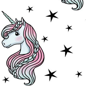 unicorn- white & black stars