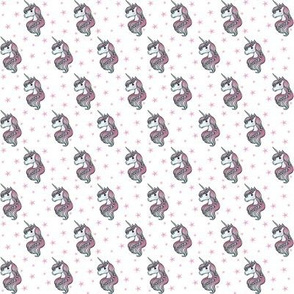 unicorn- white & bright pink - TINY