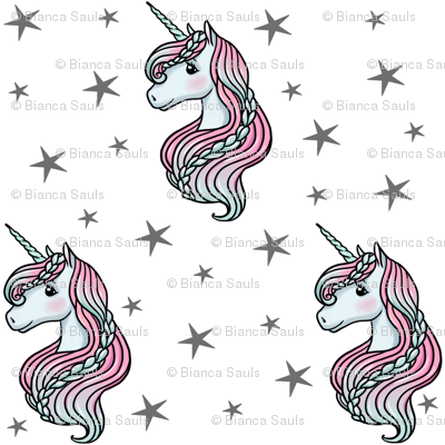 unicorn- white & dark gray - SMALL