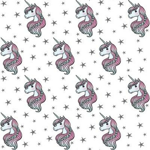 unicorn- white & dark gray - SMALL
