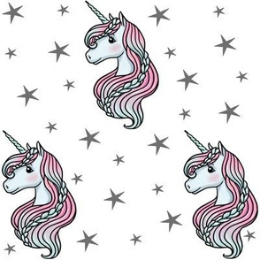 unicorn- white & dark gray - MEDIUM