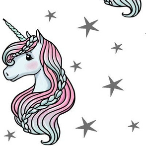 unicorn- white & dark gray - LARGE