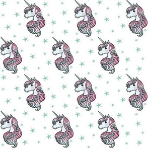 unicorn- white & dark teal - SMALL