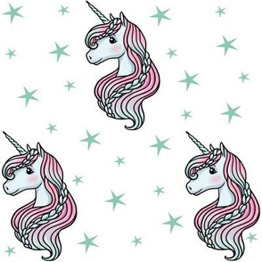 unicorn- white & dark teal - MEDIUM