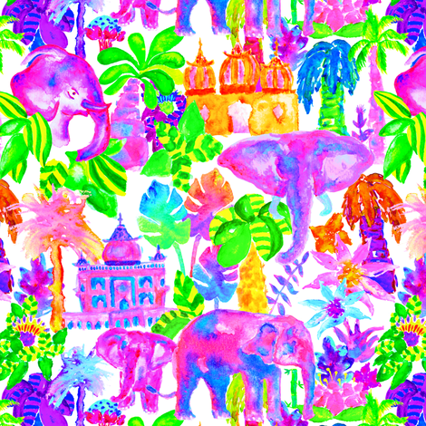 Indian Elephants in Tropical Watercolor fabric by elliottdesignfactory on Spoonflower - custom fabric