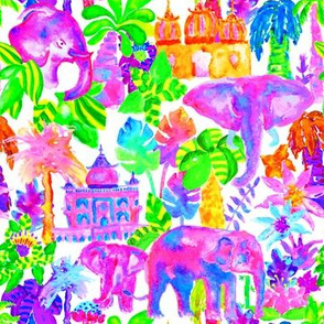 Indian Elephants in Tropical Watercolor
