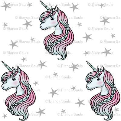 unicorn- white & gray - TINY