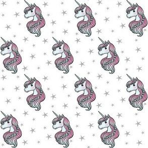 unicorn- white & gray - SMALL