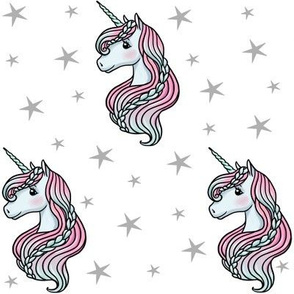 unicorn- white & gray - MEDIUM