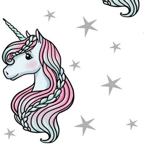 unicorn- white & gray - LARGE