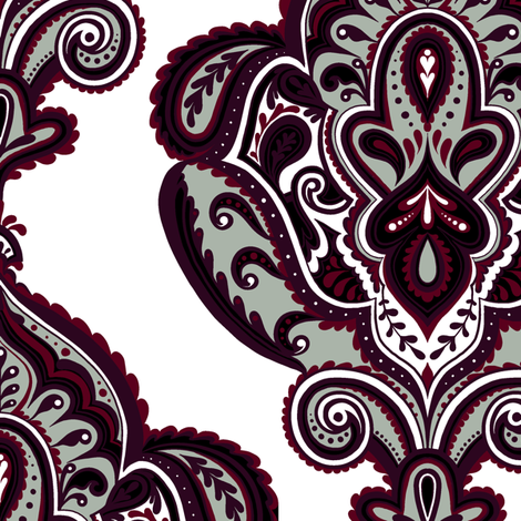 Elegant Holiday Limited Color Palette Damask and Coordinate 2 fabric by jadegordon on Spoonflower - custom fabric