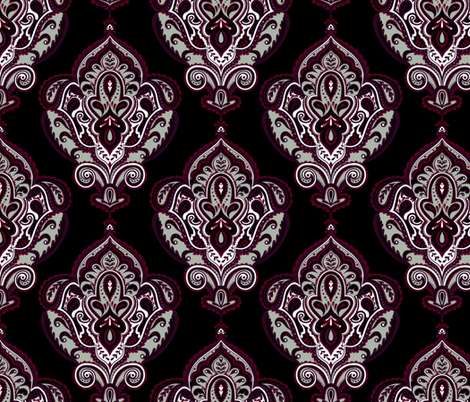 Elegant Holiday Limited Color Palette Damask and Coordinate fabric by jadegordon on Spoonflower - custom fabric