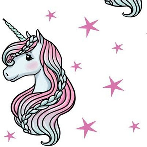 unicorn- white & hot pink - LARGE
