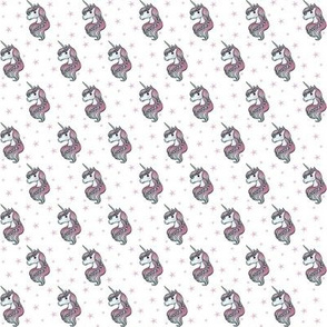 unicorn- white & light pink - TINY