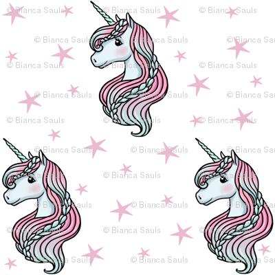 unicorn- white & light pink - LARGE