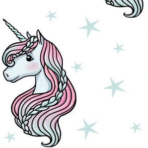 unicorn- white & light teal - LARGE