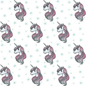 unicorn- white & teal - TINY